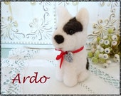 Dog black and white needle felted sculpture toy or collectible Ardo