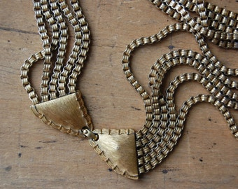 Vintage 1960s MONET multi-strand cascade necklace with bow clasp