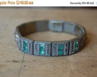 SALE Art Deco rhinestone line bracelet with aqua glass ∙ ALLCO Art Deco bracelet