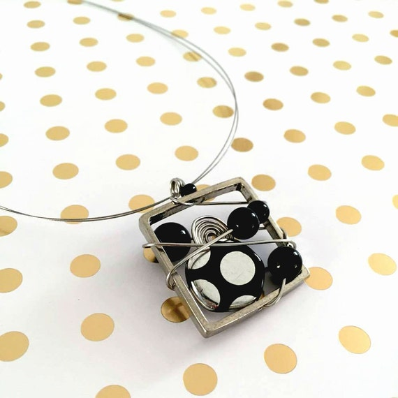 Square metal stainless necklace black, dot, glass beads pewter and stainless steel on color tiger tails, les perles rares