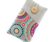 iPhone 7 case, floral iPhone 7 Plus cover, fabric iPhone 6S case, iPhone 6S Plus pouch, iPhone SE sleeve, iPhone 5 case, colorful mandalas
