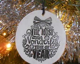 Diffuser Ornament - White Stoneware - Christmas Ornament