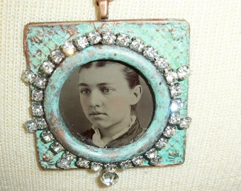 Tintype Necklace-Rhinestone Necklace Handmade Necklace-Artisan Necklace-Victorian-Vintage Necklace-Gift For Her