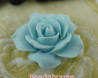 20off 2pcs (35mm) Pretty Rose Cabochon - Baby Blue