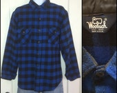 1980's Woolrich Plaid Wool shirt size XL Cobalt Blue and Black buffalo plaid made in USA