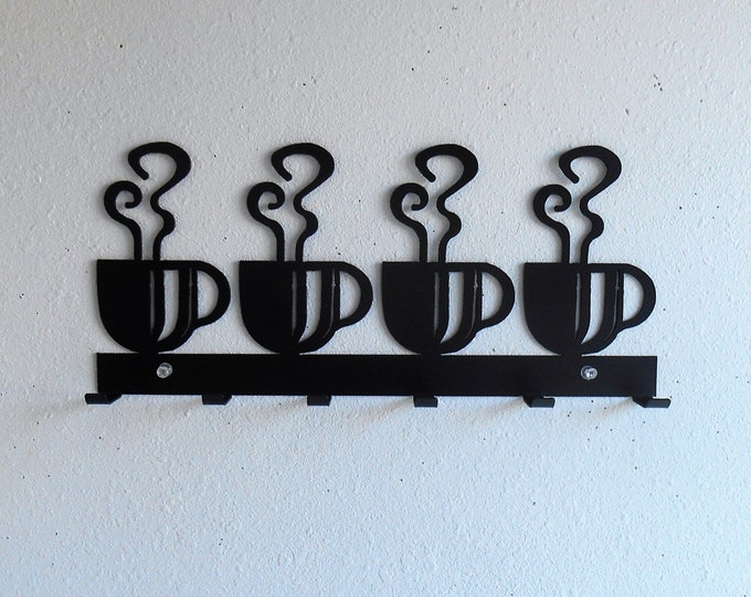 Key Rack / Coffee Cups / Dish Towel Rack / Metal Wall Hanging / Keys / Oven Mitts / Kitchen Organizer