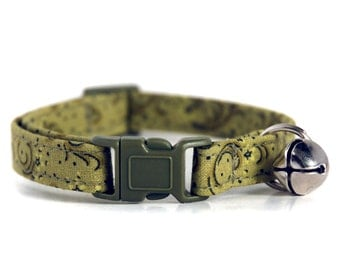 Mossy Green Custom Cat Collar, with matching olive green breakaway buckle