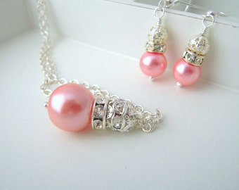 Pink Bridesmaid Jewelry, Light Pink Earrings and Necklace Set, Pink Wedding Jewelry, Bridesmaid Gift Idea