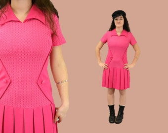 MOD mini dress hot pink hipster 90s grunge rocker pleated tennis / 1960s Vintage IngridIceland