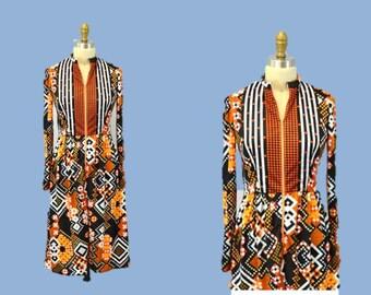 MOD dress geometric hipster retro dress Anne Fogarty autumn fashion orange 1960s Vintage small
