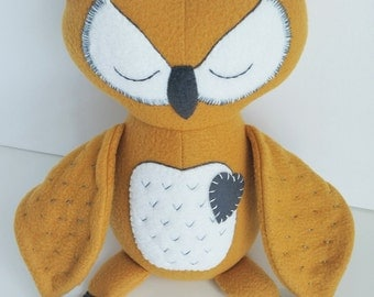 Owl - Toy - Stuffed Toy - Plushie Toy - Ragdoll - Toy for Kids - Baby & Toddler Toys - Gold - Mustard - Cream - Charcoal Grey - Horned Owl