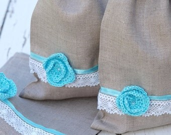 Set of 6 Natural Linen and turquoise crocheted flower Wedding gift bags Grey Linen gift bags