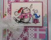 Handmade Card, Greetings, Gift, Christmas, Winter, Penny Black - Christmas Kitten