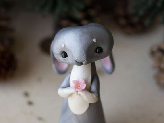Grey Rabbit Figurine by Bonjour Poupette