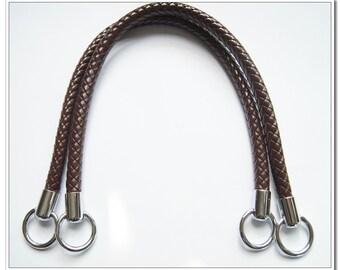 a pair of brown PU leather handbag handle purse handles bag handles 3 colors stopper available Handbag Purse Bag Making Hardware Supplies