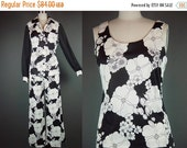 40% OFF 70s Wide Leg Palazzo Pants Set Vintage 1970s Black White Blouse Top Bold Sheer Sleeve 3 Pc