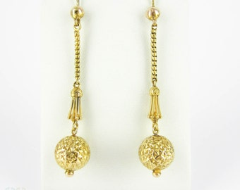Victorian Drop Earrings, Antique Textured Sphere Dangle Earrings. Circa 1860s, 15 Carat Yellow Gold.