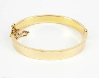 Antique Edwardian Gold Bangle Bracelet, Simple 15 Carat Yellow Gold Square Profile Bracelet. Full British Hallmarks 1900s.