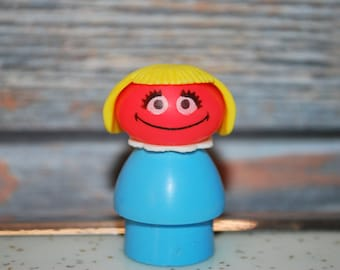 1976 Fisher Price, Sesame Street, Muppets Inc., Play Family-Little People Prairie Dawn Figure. FREE SHIPPING.