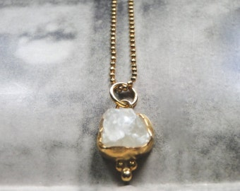 HOLIDAY SALE Quartz Pendant Necklace / Gift for Her / Holiday Gift / 22K Gold Quartz Pendant / Jewelry / Gold Ball Chain / Accessories