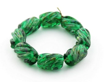 Sheribeads Glass Beads 8 Emerald Spring Floral Twist Barrels Transparent Lampwork Green