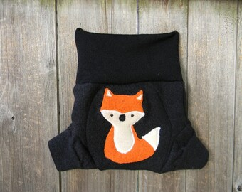 Upcycled  Merino Wool Soaker Cover Diaper Cover With Added Doubler Black With Fox Applique SMALL 3- 6M Kidsgogreen