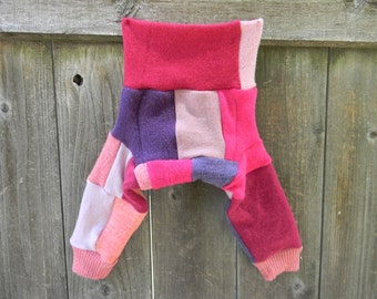 SMALL Upcycled Merino Wool Longies Soaker Cover Diaper Cover With Added Doubler Girly Patchwork Scrappy  SMALL 3-6M