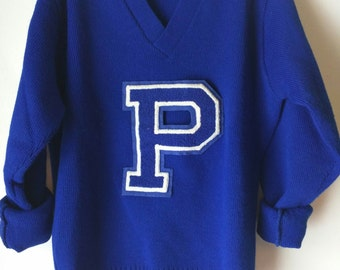 Vintage Letterman's Collegiate / Chenille Letterman Sweater /  East-Tenn / Blue / P / College / Upperclassmen / Varsity sweater