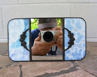 Stained Glass Personal Mirror in Blue and Lavender