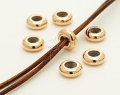 ME-229-RG / 4 Pcs - Bead blocker Stopper for 2.5mm - 3mm Leather Necklace or Bracelet, Rose Gold Plated over Brass / 7.7mm