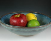 Blue Fruit Bowl, Ceramic Salad Bowl, Stoneware Serving Bowl, Wheel Thrown Pottery, by Douglas Bechler B0063