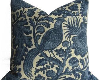 Outdoor Pillow Cover - Bird & Vine - Batik Floral - Decorative pillow Cover -  20X20  - Bohemian -  throw pillow - outdoor pillow