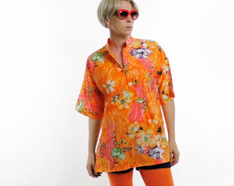 Vintage 60's lightweight polyester top, bright painterly watercolor style floral pattern, orange, pink, green, mandarin styel collar - Large