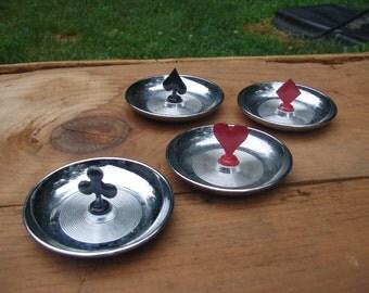 Set of 4 Vintage Chrome Poker Cards Ash trays heart diamond spade club