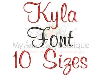 Cursive Embroidery Font - 10 Sizes - BX Embroidery Font Included - Instant Download
