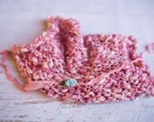Wool Knit Layering Blanket and Headband Set for Baby Girl, Beautiful Newborn Photo Prop and Ready to Ship