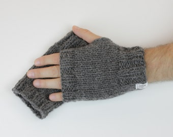 Men's Fingerless Mitts - 100% wool