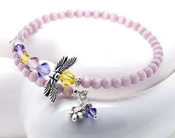 Beaded Wrap Bracelet -  Dragonfly Jewelry, Lilac Cats Eye Beads, Light Amethyst and Tanzanite Crystals, Memory Wire Bracelet, Spring Colors