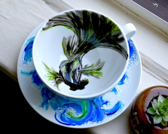 Hand-painted Goldfish - Cappuccino Cup & Saucer