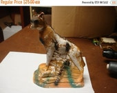Valentines Sale Vintage chalk javelina, fox, or coyote animal standing, marked 1935, collectable painted figurine fair carnival prize