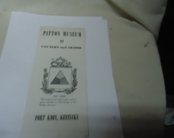 Vintage Patton Museum Of Cavalry and Armor Fort Knox, Kentucky Fold Out Brochure, collectable