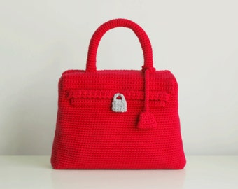 Red crochet Kelly bag, vintage style handmade purse, handmade handbag