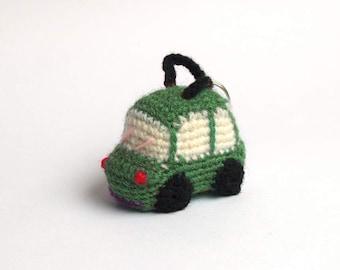 Green crochet car - amigurumi keychain