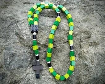 Lego Rosary - The Original Lego Rosary in Green & Black Boys Catholic First Communion Gift