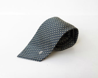 on SALE. Claude Terrail La Tour D'Argent Blue and Gold SILK Neck Tie Made in France Silk Necktie