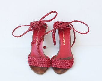 Charles Jourdan lace up sandals, woven red leather ankle strap 6.5 Euro 37 Grecian sandals, high heel open toe strappy heels