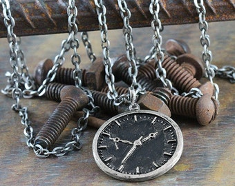 Silver Clock Face Pendant Mens Necklace Antique Man Jewelry