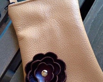 Spiced Cider Brown Fall Leather Flower Cell Phone Galaxy Iphone Camera Sling Crossbody Case Zipper Pouch Small Purse