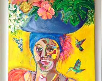 Original Large Abstract Painting / Tropical Vibe - Lady Of Cartagena - Acrylics and Oil Pastels On Canvas 22 x 28 inches