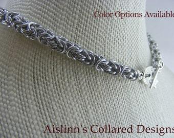 Byzantine BDSM Slave Collar Choker Necklace Silver Base